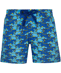 Boys Others Printed - Boys Swim Trunks Cows Puzzle, Batik blue front