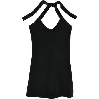 Women Dresses Solid - Women Short Halter Terry Cloth Dress Solid, Black front