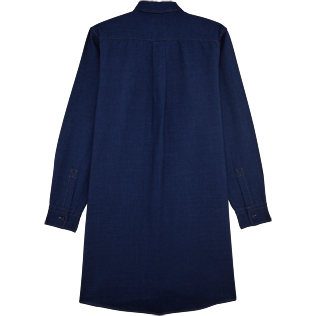 Women Dresses Solid - Indigo Long Linen Shirt, Indigo back