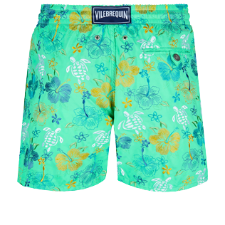 Men Classic Embroidered - Men Swimwear Embroidered Tropical turtles - Limited Edition, Cardamom back