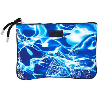 Others Printed - Zipped Beach pouch Splash, Neptune blue front