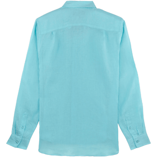 Men Others Solid - Men Linen Shirt Solid, Aquamarine back