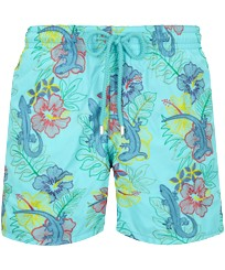 Men Classic Embroidered - Men Swim Trunks Embroidered Les Geckos - Limited Edition, Lazulii blue front