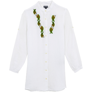Femme AUTRES Brodé - Robe chemise en Lin femme broderie Sweet Fishes, Blanc front