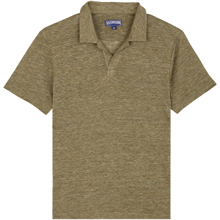 Men Others Solid - Men Linen Jersey Polo Shirt Solid, Heather sycamore front