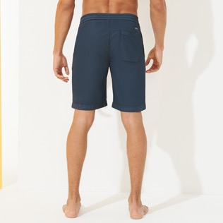 Men Others Solid - Men Jogging Gabardine Bermuda Shorts, Navy backworn
