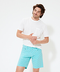 Men Others Printed - Men Cotton Bermuda Shorts Micro Ronde Des tortues, Lagoon frontworn