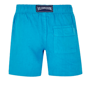 Boys Others Solid - Linen Boys Shorts Bermuda Solid, Hawaii blue back