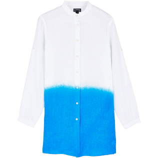 Women Others Solid - Women Linen Shirt Dress Tie and Dye, Atoll front