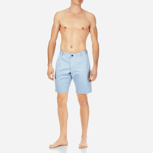 Men Shorts Solid - Men Straight Linen Cotton Bermuda Shorts Solid, Sky blue frontworn