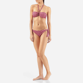 Women Tops Printed - Micro Turtles Hawaï Bandeau bikini top, Pink frontworn