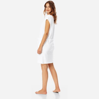 Women Others Solid - Women Short terry cloth Dress Solid, White backworn