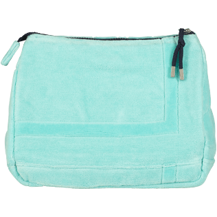 Others Solid - Zipped beach pouch in terry cloth solid jacquard, Lagoon back