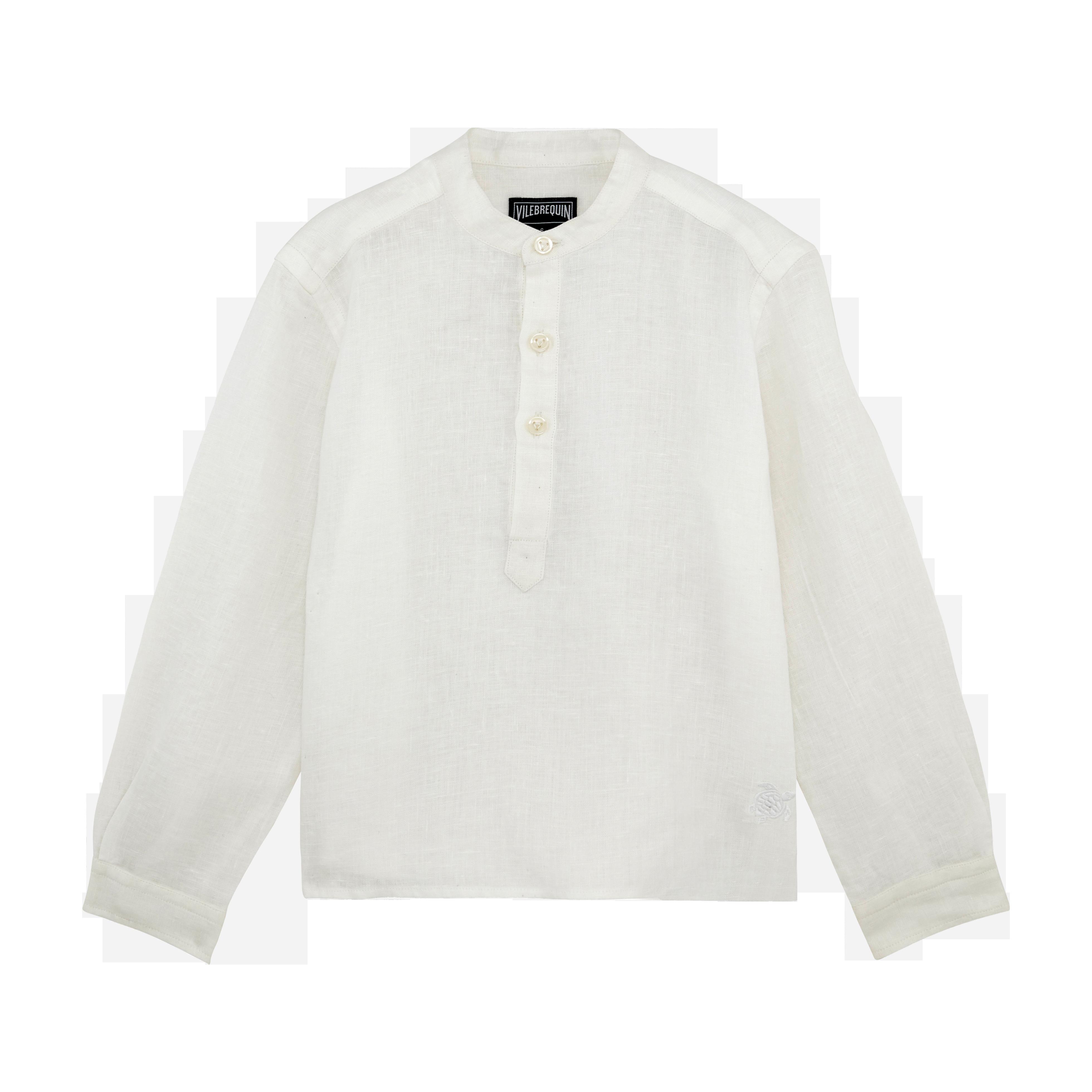 VILEBREQUIN | Boys Ready to Wear - Boys Linen Shirt Solid - SHIRT - JOMAO - White - 14 - Vilebrequin | Goxip