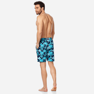 Men Long classic Printed - Men Swim Trunks Long Stretch Turtles Flowers, Navy backworn