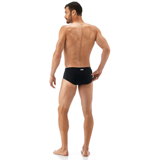 Men Short, Fitted Solid - Tuxedo Tuxedo swim briefs, Black backworn