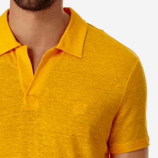 Men Others Solid - Men Linen Jersey Polo Shirt Solid, Mango supp1