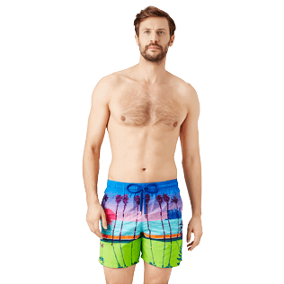 Men Embroidered Embroidered - Men printed and embroidered Swim Trunks Miami - Limited Edition, Sea blue frontworn