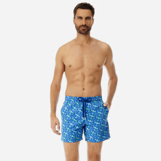 Men 017 Embroidered - Men Embroidered Swimwear St Barth - Limited Edition, Sea blue frontworn