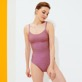 Women One piece Printed - Women Round Neckline One-piece Swimsuit Indian Ceramic, Pink berries frontworn
