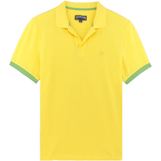 Men Others Solid - Men Cotton Pique Polo Shirt Solid, Acacia front