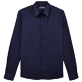 Men Shirts Solid - Unisex Linen Voile Shirt Solid, Navy front