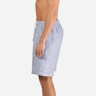 Men Others Graphic - Men Cargo Linen Bermuda Shorts Micro Rayures, Ultramarine supp3