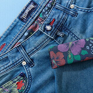 Uomo Altri Stampato - Pantaloni uomo a 5 tasche in denim con stampa Tropical Turtles, Med denim w2 supp2