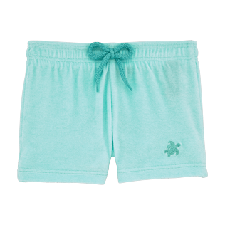 Girls Shorties Solid - Girls Terry Cloth Shortie Solid, Lagoon front
