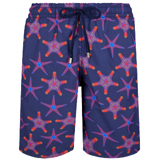 Men Long classic Printed - Men Swim Trunks Long Starfish Dance, Sapphire front