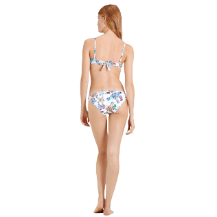 Mujer Braguitas Estampado - Braguitas de bikini de talle medio con estampado Watercolor Turtles para mujer, Blanco backworn