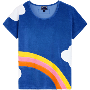 Women Others Printed - Women multicolor clouds t-shirt - Vilebrequin x JCC+ - Limited Edition, Sea blue front