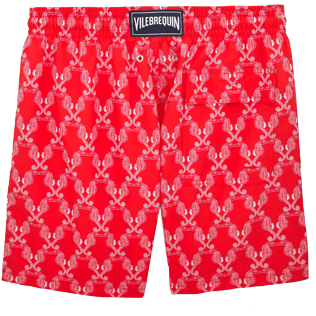 Men Classic / Moorea Printed - Valentine Day Hippocampes Swim shorts, Poppy red back