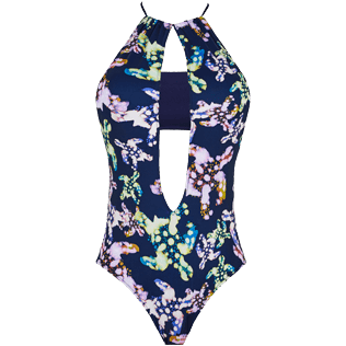 Women One piece Printed - Women One Piece Swimsuit Plunge Halterneck Watercolor Turtles, Navy supp4