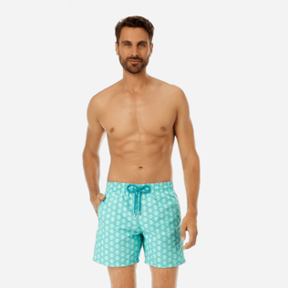 Men Classic Printed - Men Swimwear Ancre De Chine, Mint frontworn