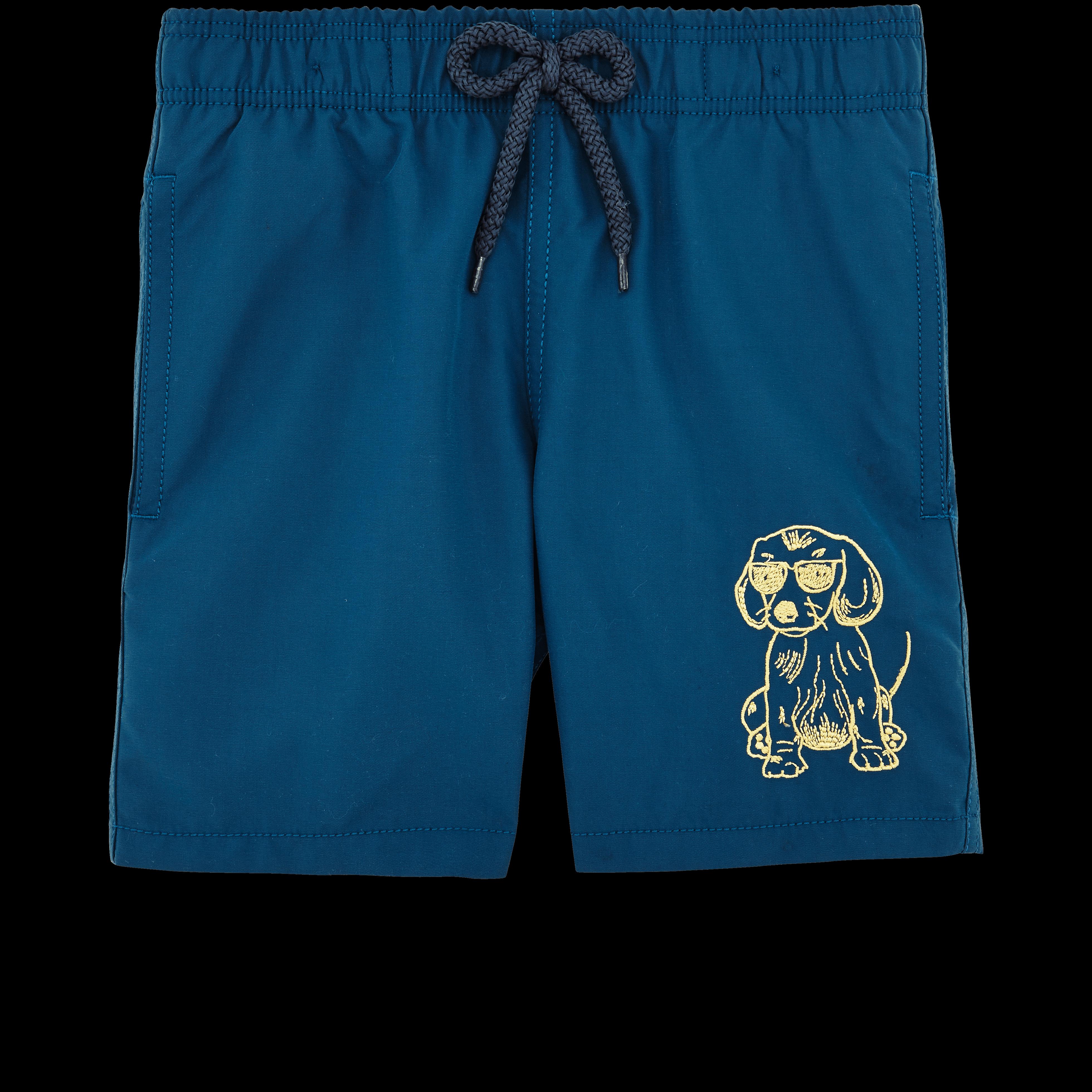 VILEBREQUIN | Boys Swimwear - SUNNY DOG EMBROIDERED SWIMWEAR - SWIMMING TRUNK - JAM - Blue - 12 - Vilebrequin | Goxip