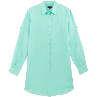 Women Others Solid - Women Long Linen Shirt Solid, Mint front