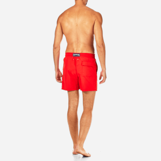 Men Classic / Moorea Embroidered - Primitive Turtle Placed Embroidery Swim shorts, Poppy red backworn