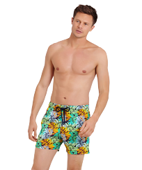 Men Stretch classic Printed - Men Swim Trunks Stretch Jungle, Midnight blue frontworn