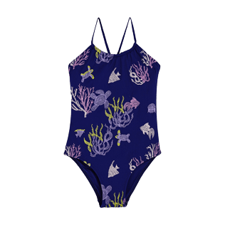 Girls Others Embroidered - Girls One Piece Swimsuit Coral and Turtles, Midnight blue front