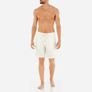 Men Shorts Solid - Solid Cargo linen bermuda shorts, Sand frontworn