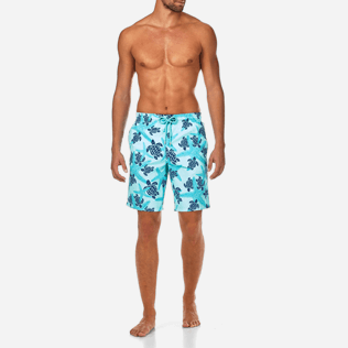Men Long classic Printed - Starlettes & Turtles Long Cut Swim shorts, Lagoon frontworn