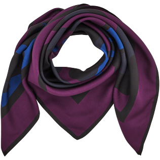 046 Printed - Camouflage Turtles Printed scarf in Silk, Plum front