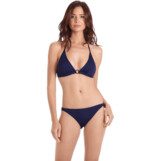 Women Classic brief Solid - Women brief to be tied bikini Bottom Ecailles de tortues, Midnight blue frontworn