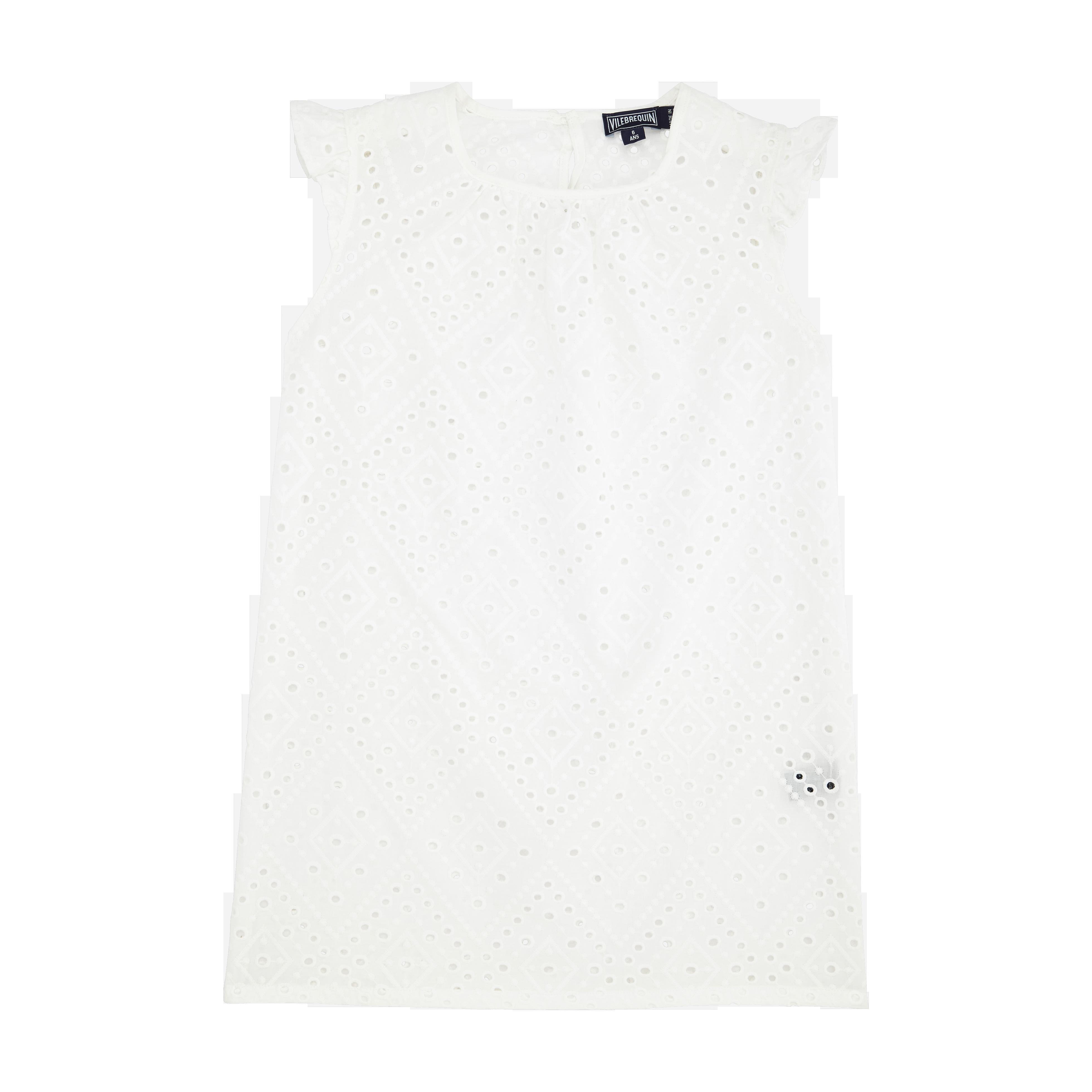 VILEBREQUIN | Girls Ready to Wear - Girls Cotton Dress Eyelet Embroidery - DRESS - GABIS - White - 14 - Vilebrequin | Goxip
