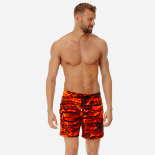 Men Ultra-light classique Printed - Men Ultra-Light and packable Swimwear Comporta, Neon orange frontworn