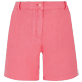 Women Others Solid - Women Linen Bermuda Shorts Solid, Cherry blossom front