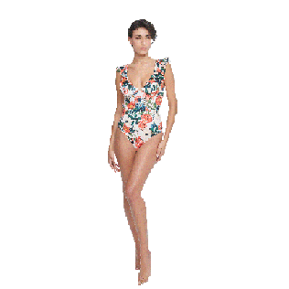 Women Long, Fitted Printed - Women One piece Swimsuit Tropical Blooms, White supp3