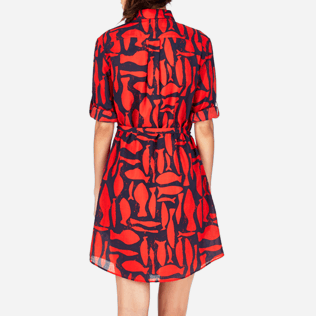 Women Dresses Printed - Silex Fishes Long dress shirt, Poppy red supp2