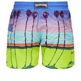 Men Embroidered Embroidered - Men printed and embroidered swimtrunks Miami - Limited Edition, Sea blue back